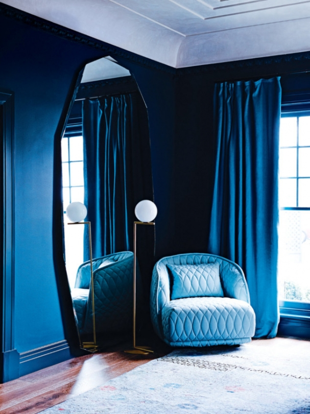 navy deep jewel tone room blue bedroom reading nook inspiration blue tufted sofa chair wall mirror inspiration sea high ceilings georgian mansion style shop room ideas