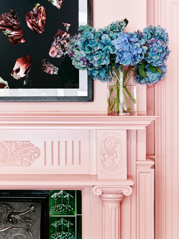 pantone 2016 colour of the year rose quartz baby pink pastel fireplace mantle decor artwork traditional home ideas feminine office space how to decorate shop room ideas