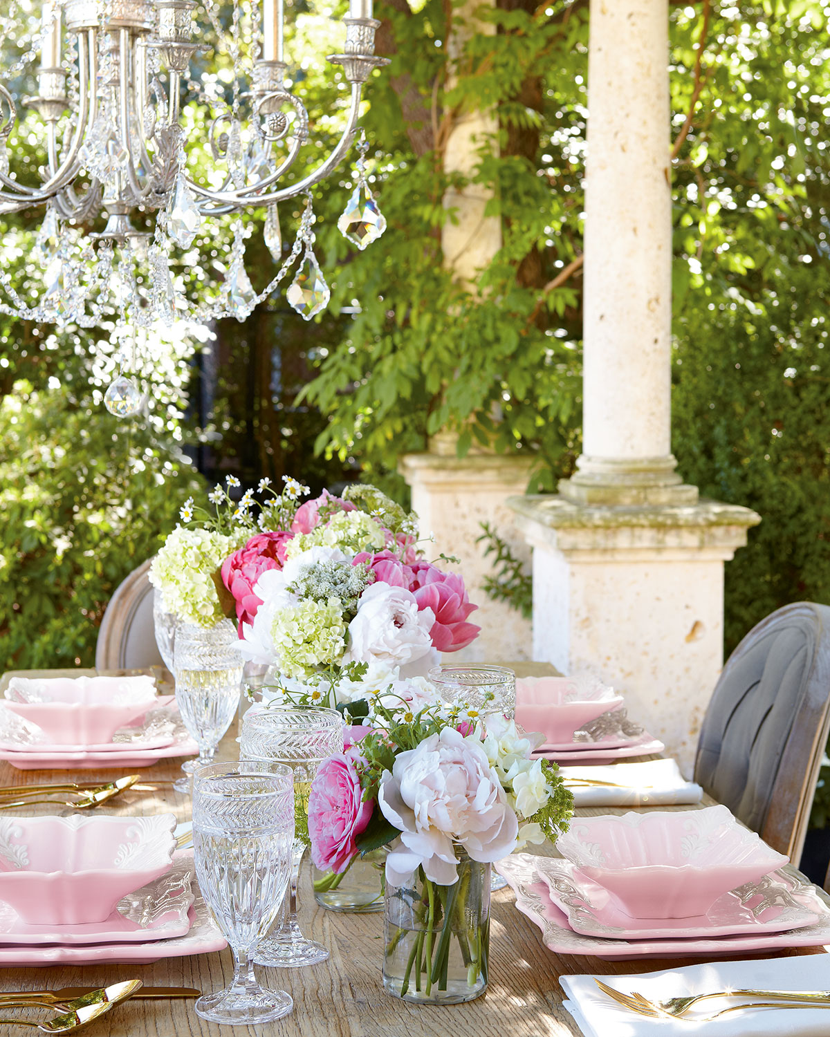 pink and white square plates dinnerware gold knives fork cutlery wedding feminine girly pink spring decor interior design shop room ideas how to set tabletop