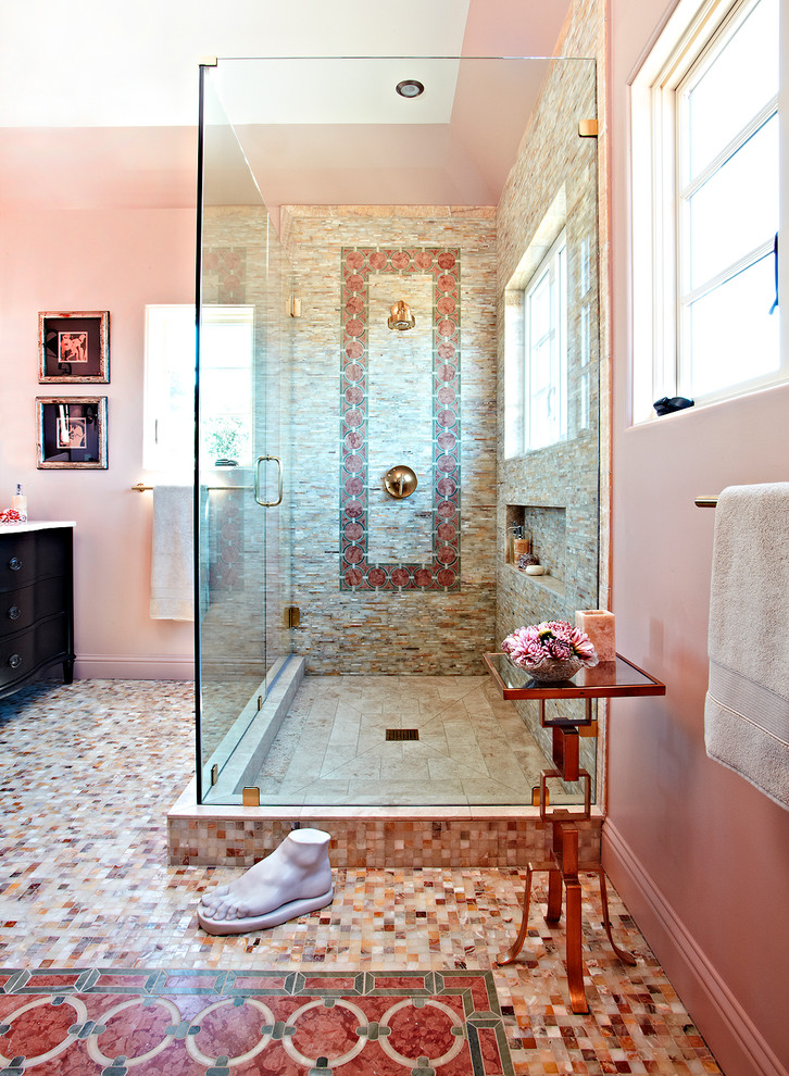 Pink Red Mediterranean Glass Shower Bathroom Spanish Style Powder Room  Feminine Gilry Shop Room Ideas Pinterest