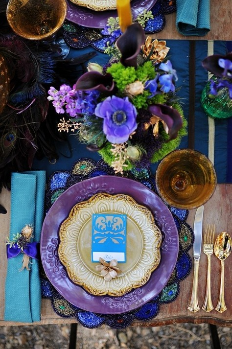 Wedding or Party Table Setting. Red, purple, pink, and ... |Pink And Purple Table Setting