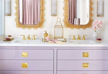 purple violet gold bathroom fixtures bath gold leaf mirrors white girly feminine inspiration pinterest master suite powder room shop room ideas