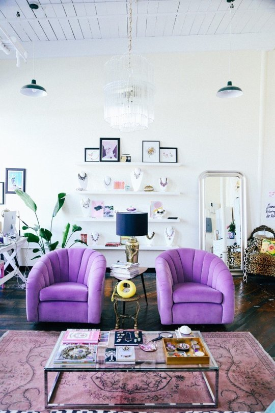Purple Violet Lilac Tulip Chairs Family Living Room Persian Colourful Rug Moroccan Swedish White Accent Wall