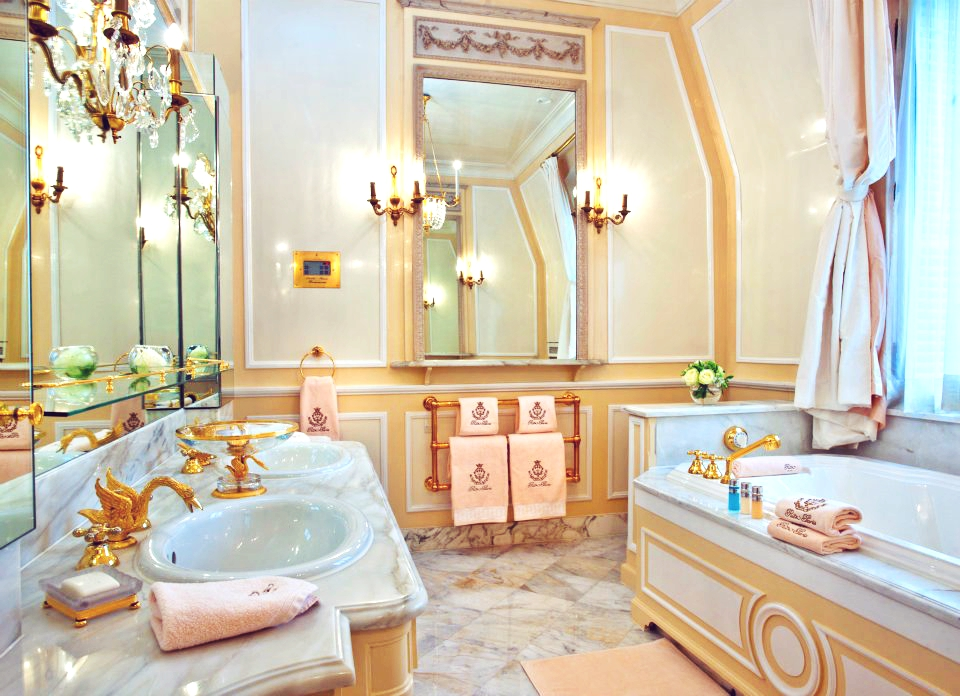 ritz carlton coco chanel suite kate moss home bathroom cewlebrity versailles french decor inspiration shop room ideas gold plated sink vanity swan faucet