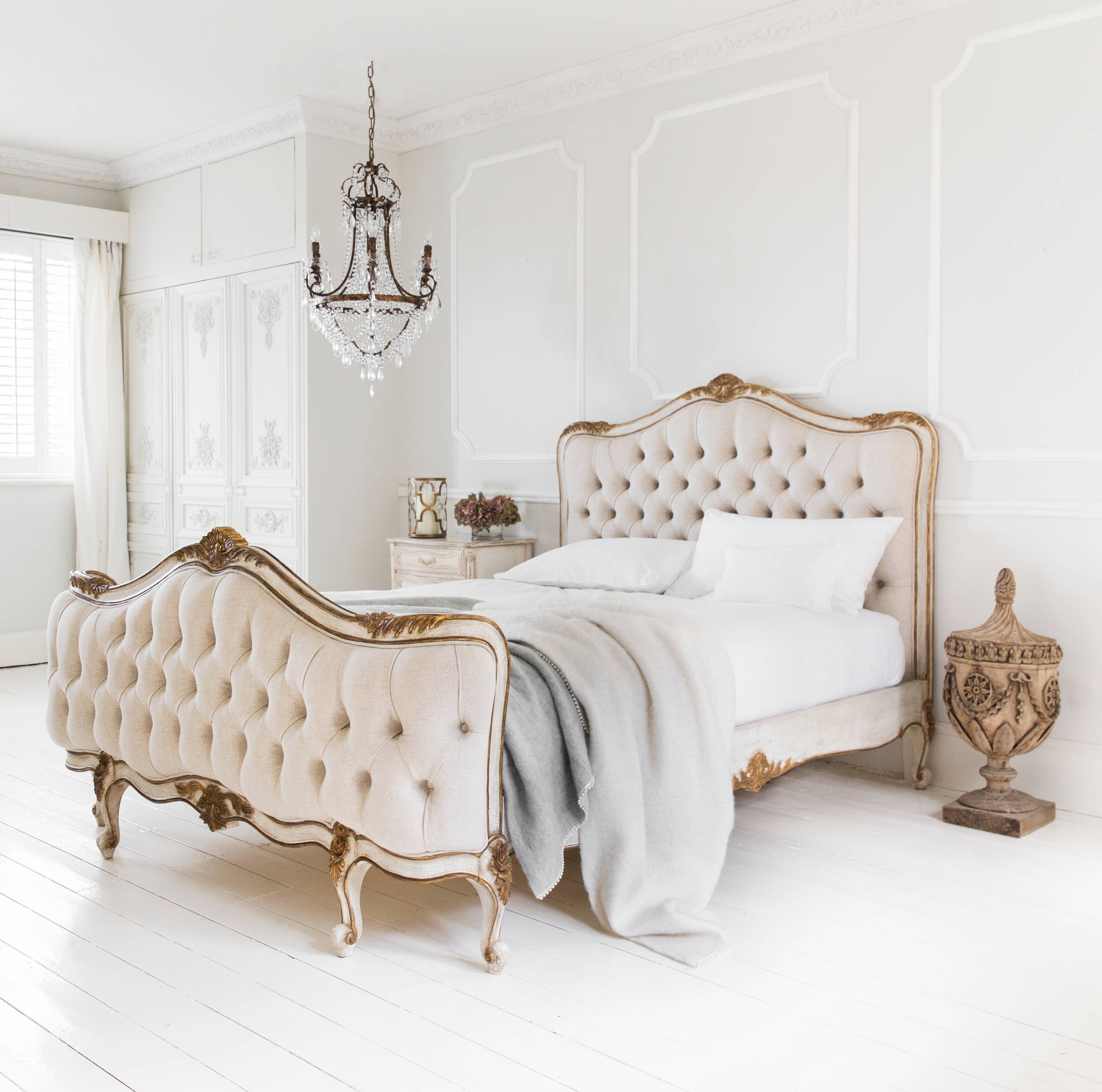 traditional bedroom french parisian tufted bed diy diamond headboard all white hardwood floors gold versailles - French Style Bedroom Decorating Ideas