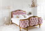 traditional french country chateau regency style bedroom bed tufted pink feminine girly gold leaf wall moulding chandelier marie antoinette versailles shop room ideas pinterest