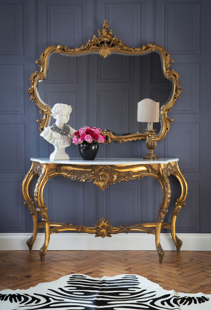 French Home Decorating Ideas Part - 44: Traditional French Country Home Design Style Versailles Palace Gold Gilt  Mirror Hallway Table Entrance Moulding Purple