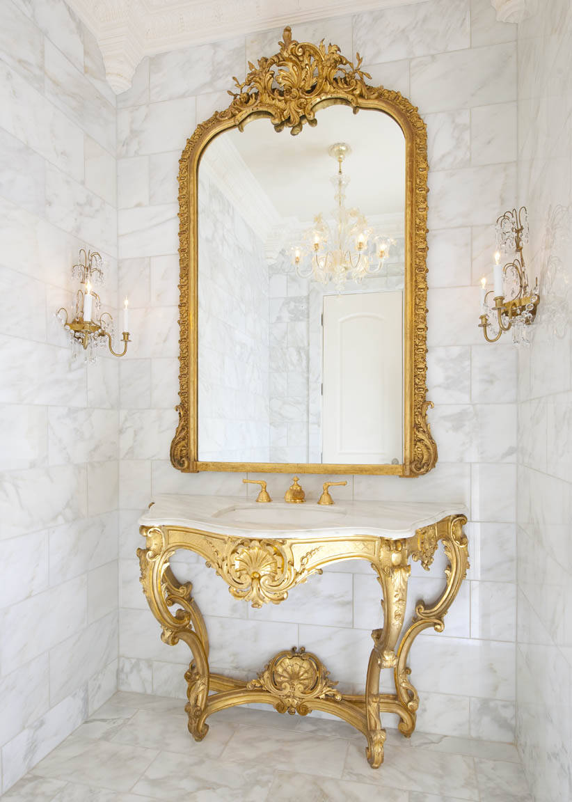 traditional-powder-room french decorating decor paris parisian versailles inspired pinterest gold gilt gilded mirror anitque marble tile bathroom powder room white shop room ideas
