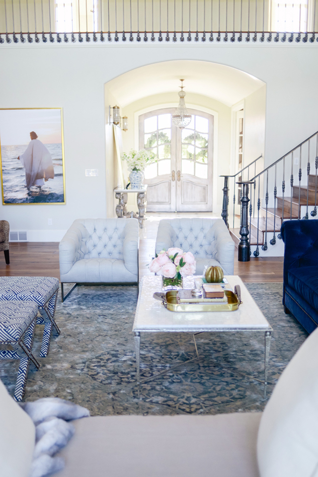 tufted powder light blue sofa chairs tuxedo velvet navy persian oriental rug furniture arranging ideas inspiration coastal cottage hamptons greek staircase pickets shop room ideas