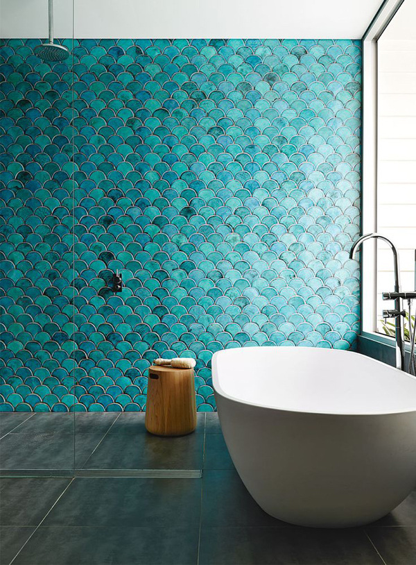 Turquoise Seas Blue Green Turquoise Fish Scale Tiles Modern Bathroom  Feature Wall Shower Pinterest Shop Room Ideas Zen   Shoproomideas