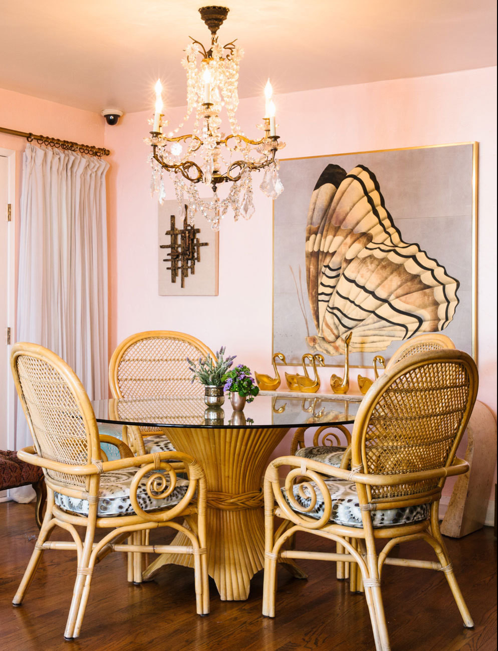 butterfly artwork kitchen wicker table set chair los angeles 50s style home interior pink walls kitchenc handelier eating nook small shop room ideas circular glass table top