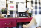 how to buffalo checkered gingham checkered wall black white wallpaper diy tutorial spring decor design trends home office pink desk feminine pinterest shop room ideas