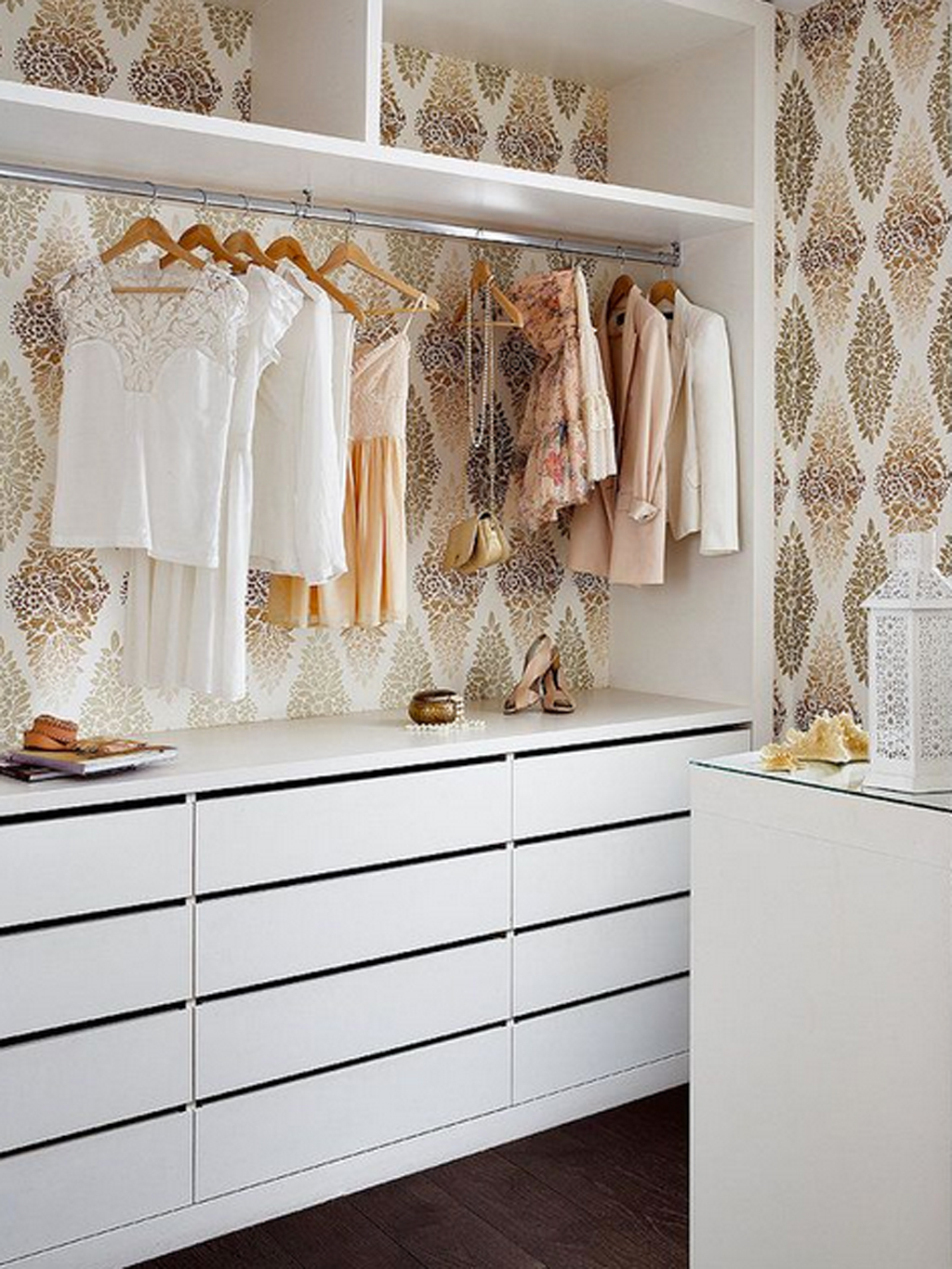 how to wallpaper your closet gold and
