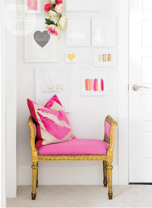 pink and gold leaf accent chair diy inspiration decor feminine office ideas kiss pillow girly eclectic design shop room ideas decor