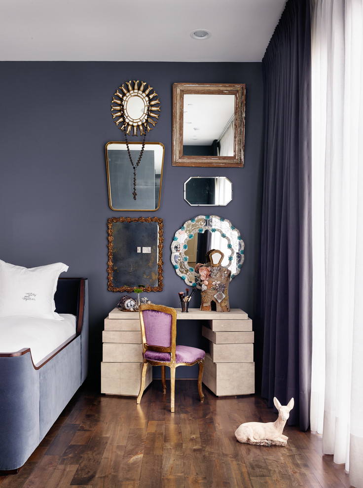 purple velvet french chair corner decoarting inspiration design ideas mirror grouping gallery wall daybed purple bedroom diy office desk