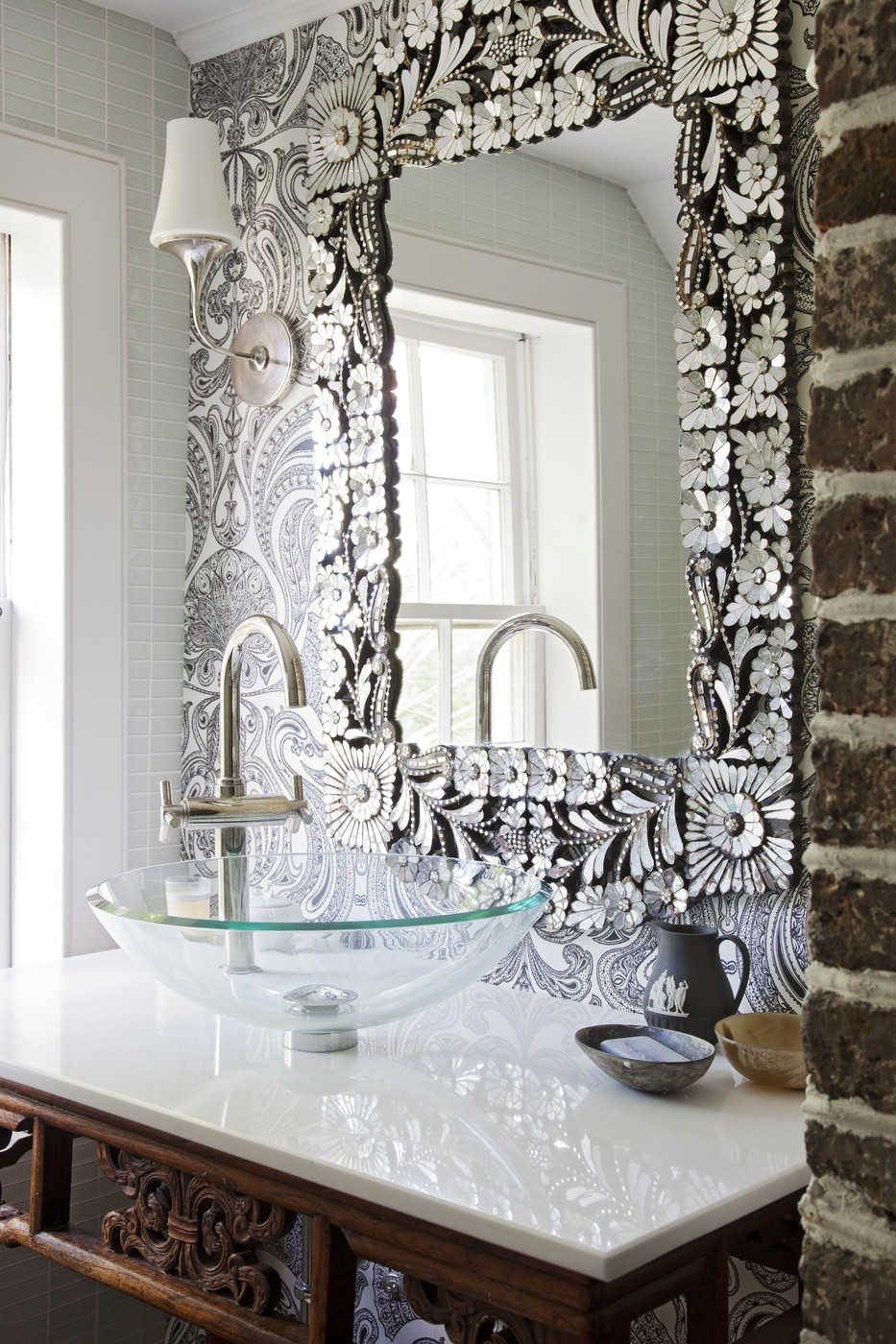 sea shell mirror silver rustic farmhouse vanity bathroom sink idea inspiration brick wall georgian traditional decor house shop room ideas clear sink