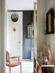 small mirror hallway inspiration black paint walls french provincial ...