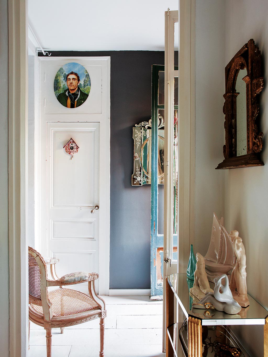 Small Mirror Hallway Inspiration Black Paint Walls French Provincial Style Doors Moulding Renovation Decorating With Mirrors