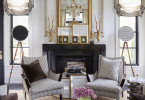 waffle ceiling traditional fireplace mantle mantel gold gilded gilt mirror ideas side windows georgian home black navy pinstripe chairs inspiration cow hide rug cozy look shop room ideas