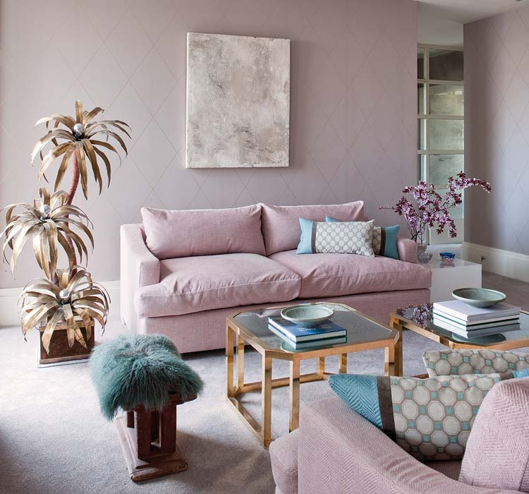 Gold Palm Tree Decor Faux Plant Teal Lamb Fur Carpet Stool Pink Blush Pastel Couch