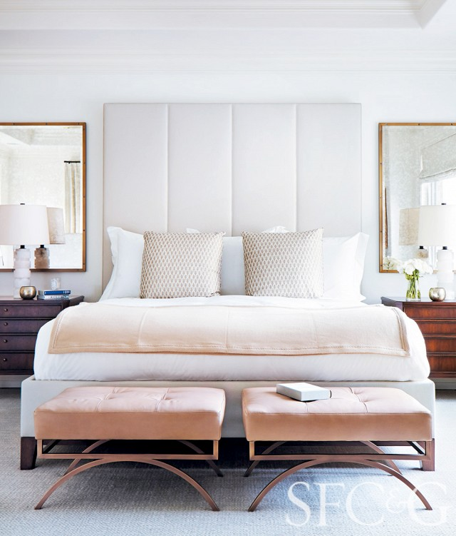copper pink nude blush bedroom modern leather white headboard bedroom