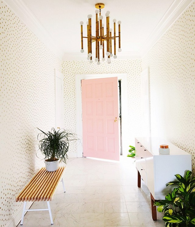 5-ways-to-decorate-a-narrow-entryway-hallway-corridor-how-to-polka-dot-wallpaper-ideas-pink-front-door-shop-room-ideas
