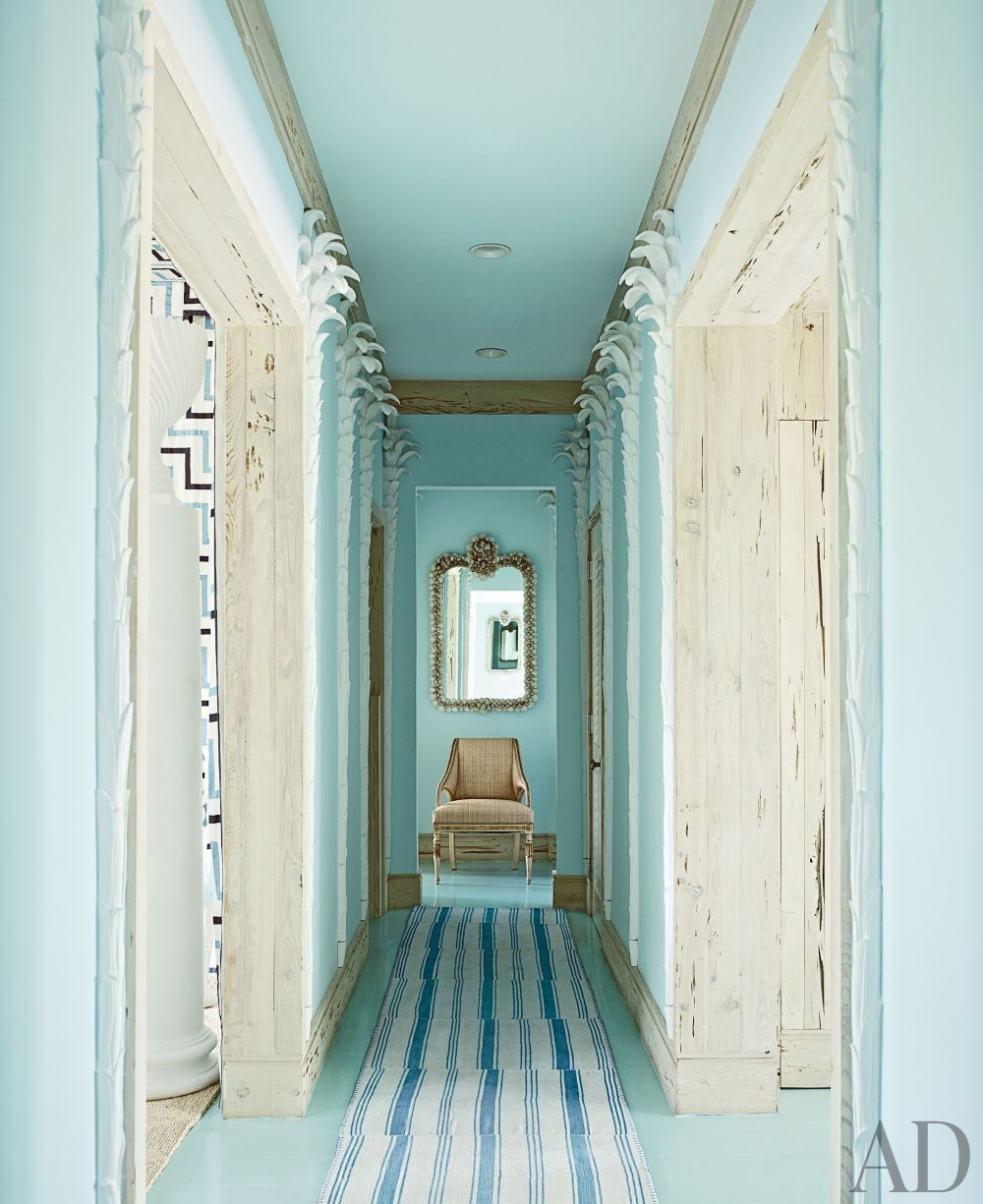 beachhouse-how-to-decorate-narrow-hallway-entryway-turquoise-paint-walls-home-house-decorating-ideas-inspiration-white-washed-weathere-wood-floors-door-moulding-molding-cream-antique-gold