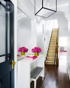 Black Front Door Entryway Entrance Hallway Ideas How To Decorate Narrow Leopard Cicil Carpet All White Lantern Lighting Inspiration Small Townhouse Decor