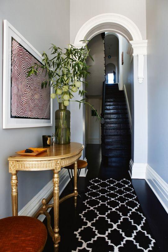 How To Decorate Narrow Hallway Entryway Black Hardwood