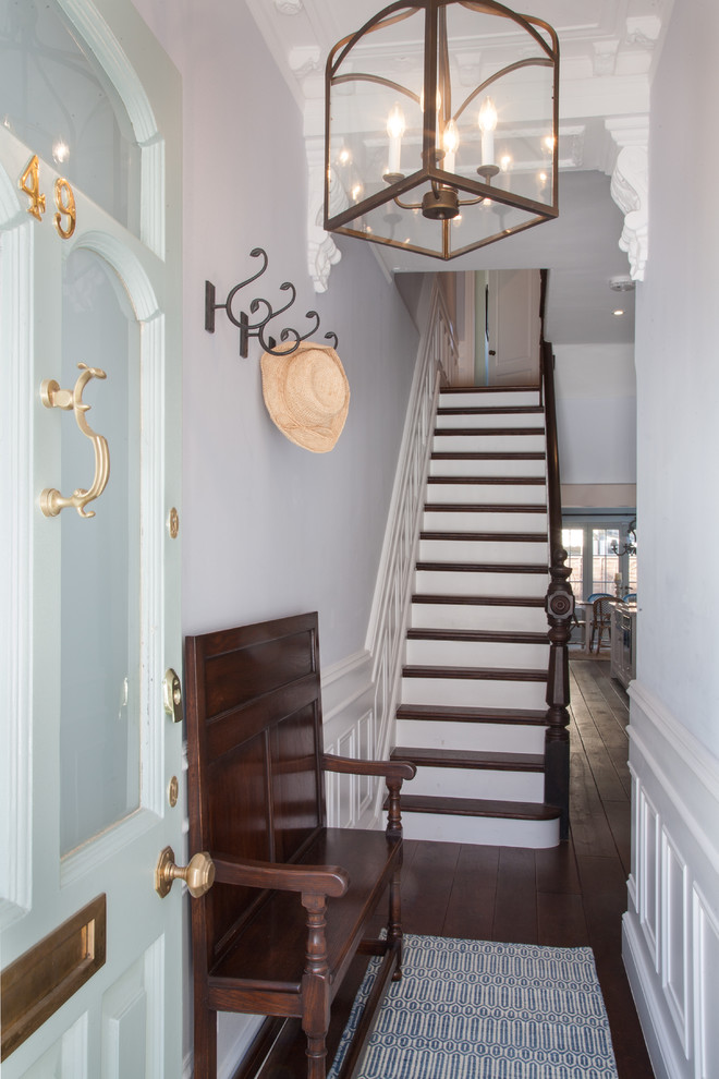 turquoise-blue-front-door-gold-door-kocker-lion-victorian-staircase-how-to-decorate-narrow-hallway-corridor-long-shop-room-ideas