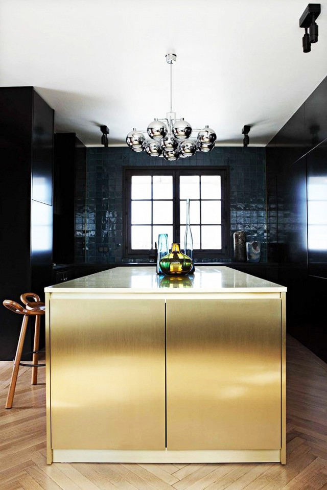 gold navy kitchen and