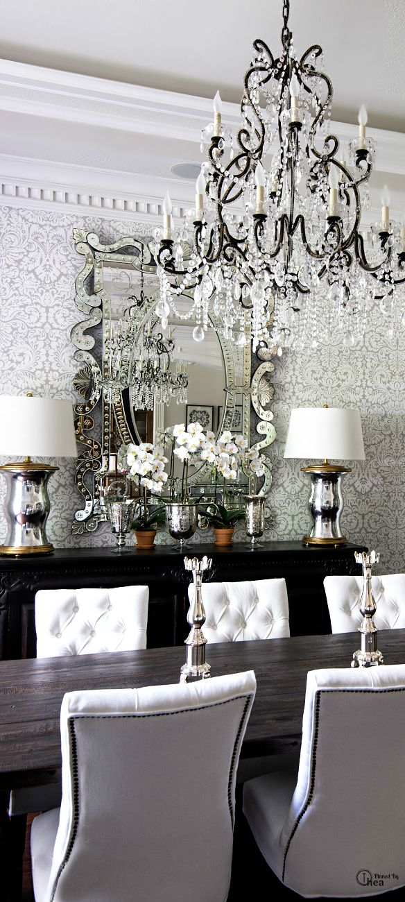 Dining Room Chandelier Damask Wallpaper Decorating White Tufted