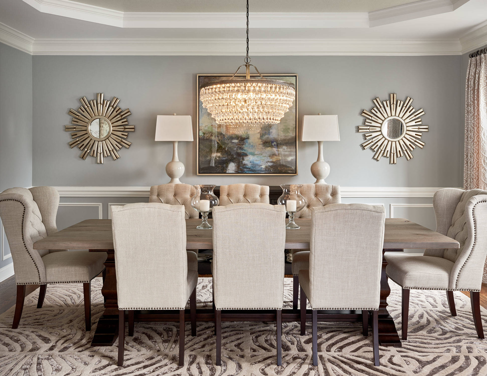 dining room light white beiege netural color palette glamorous modern