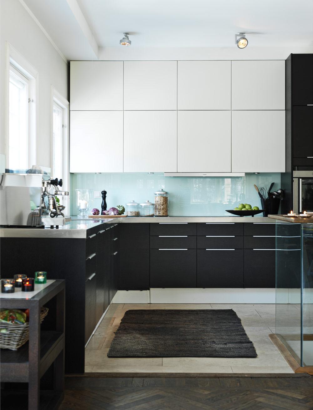 kitchen-glass-splash-guard-harringbone-parquet-ikea-hack-classic-swedish-scandinavian-nordic-style-kitchen-all-white-simple-minimalist-modern-black-and-white-cabinets