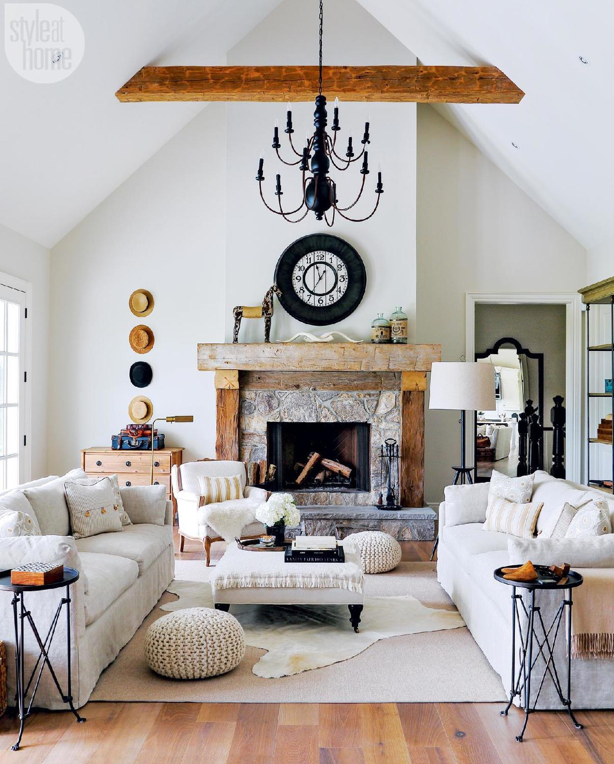 stone-wood-mantle-fireplace-christmas-holiday-decor-ideas-inspiration-cow-hide-carpet-cottage-look-cozy-living-room-design