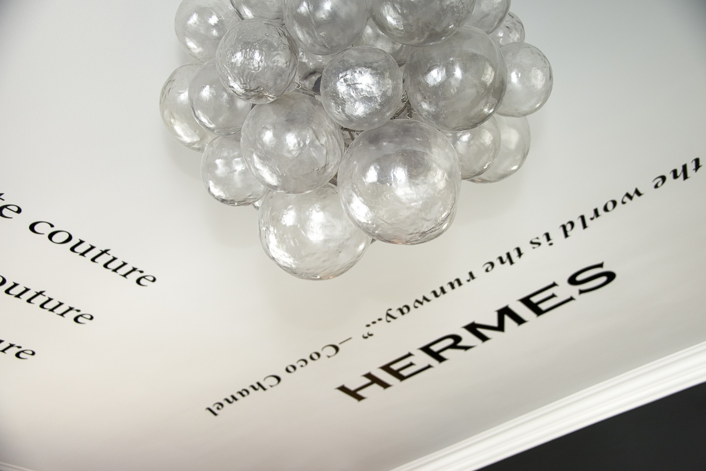 HERMES chanel prada gucci valentino wall decal decals murals quotes sticker vynil crystal balloon chandelier fashion blogger walk in closet ideas inspiration home office eclectic style glam decor