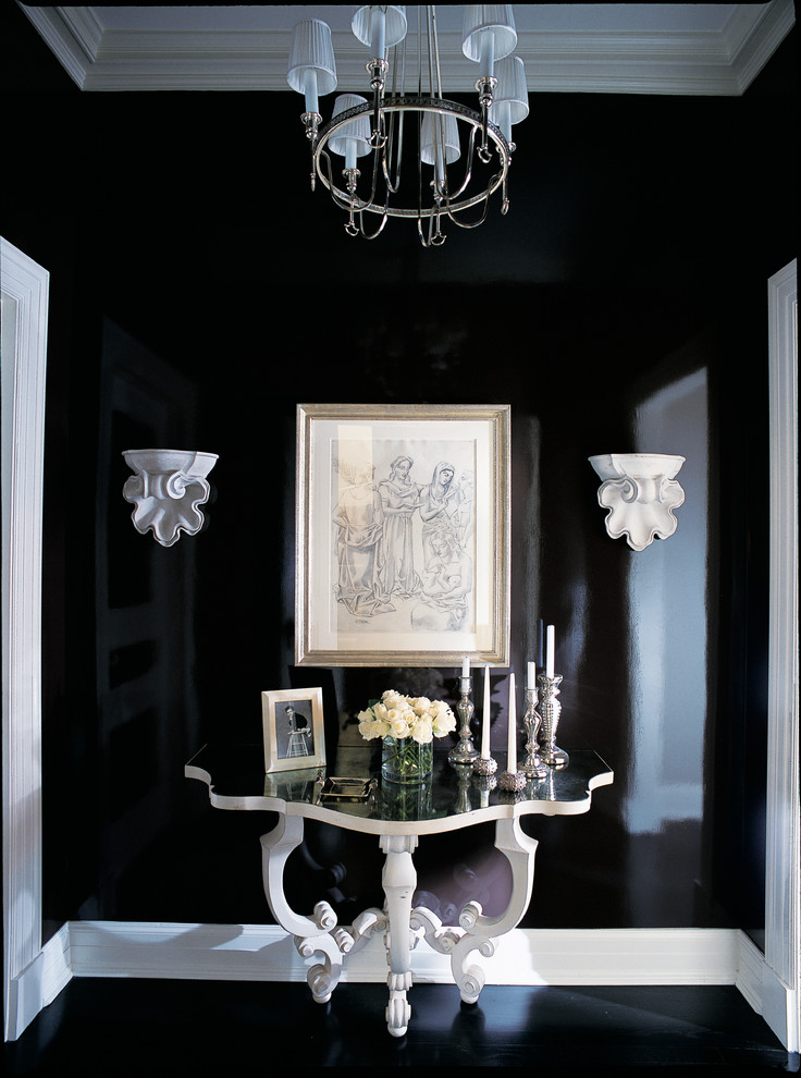 black walls hallway idea black and white house interor decor inspiration shopping for antiques furniture remodel victorian huse black lacquer hardwood floors