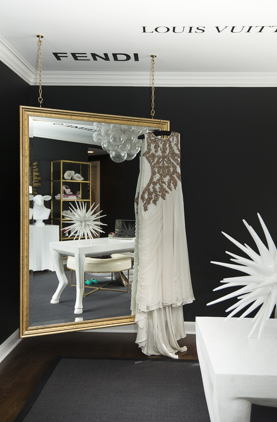 fashion blogger designer chanel hermes prada gucci wall decals transitional black and white home office inspiration ideas gold hanging mirrors dream closet