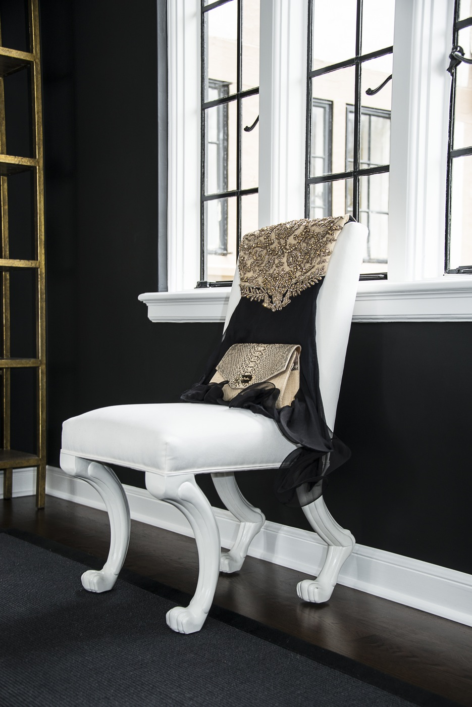 fashion blogger transitional black and white home office inspiration ideas gold hanging mirrors walk in closet work space feminine hollywood celebrity glam eclectic decor