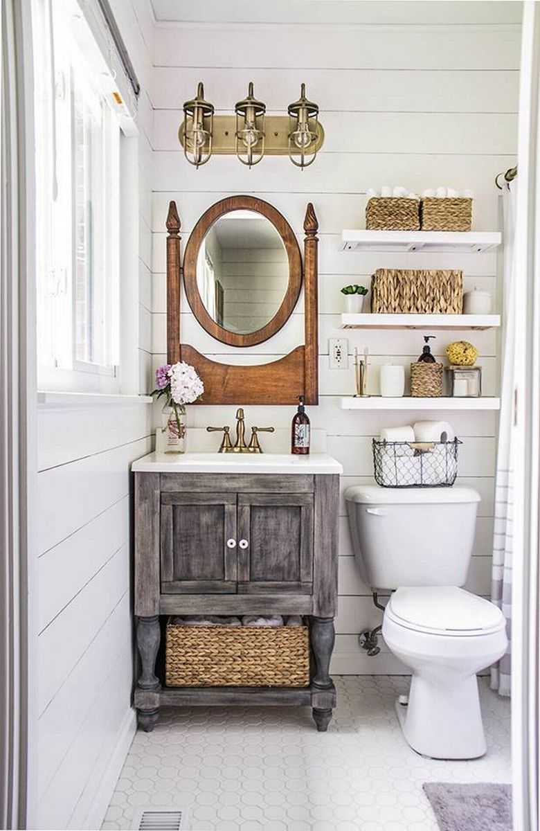 how to renovate decorate small bathroom powder room ideas farmouse farm barn ideas wood vanity shevling storage