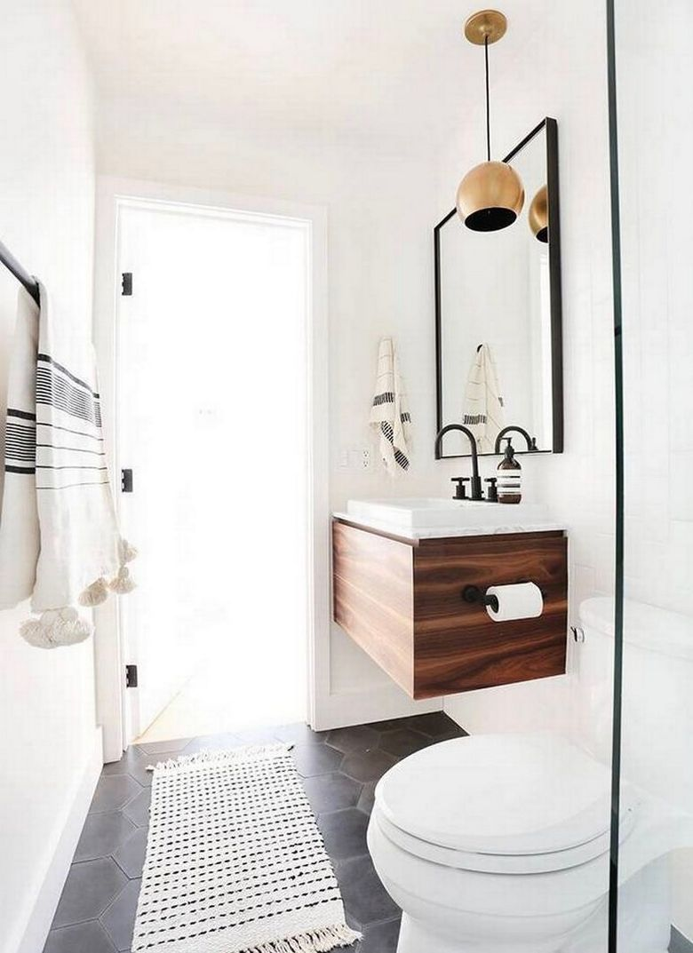 how to small bathroom renovation before and after photos earth wood vanity minimalistic monochrome ideas