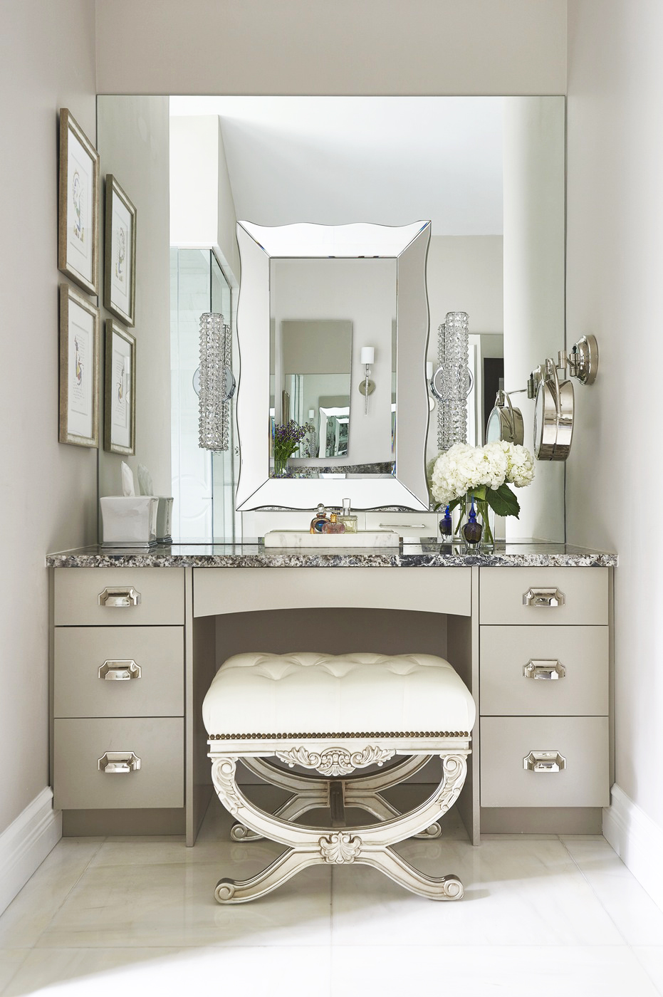 makeup chair vanity table instagram walk in closet girly feminine white and beige washroom quartz granite countertop