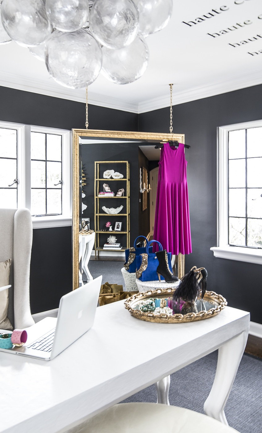 Modern Fashion Blogger Feminine Home Office Design Ideas Inspiration Walk  In Closet Eclectic Glam Celebrity Black