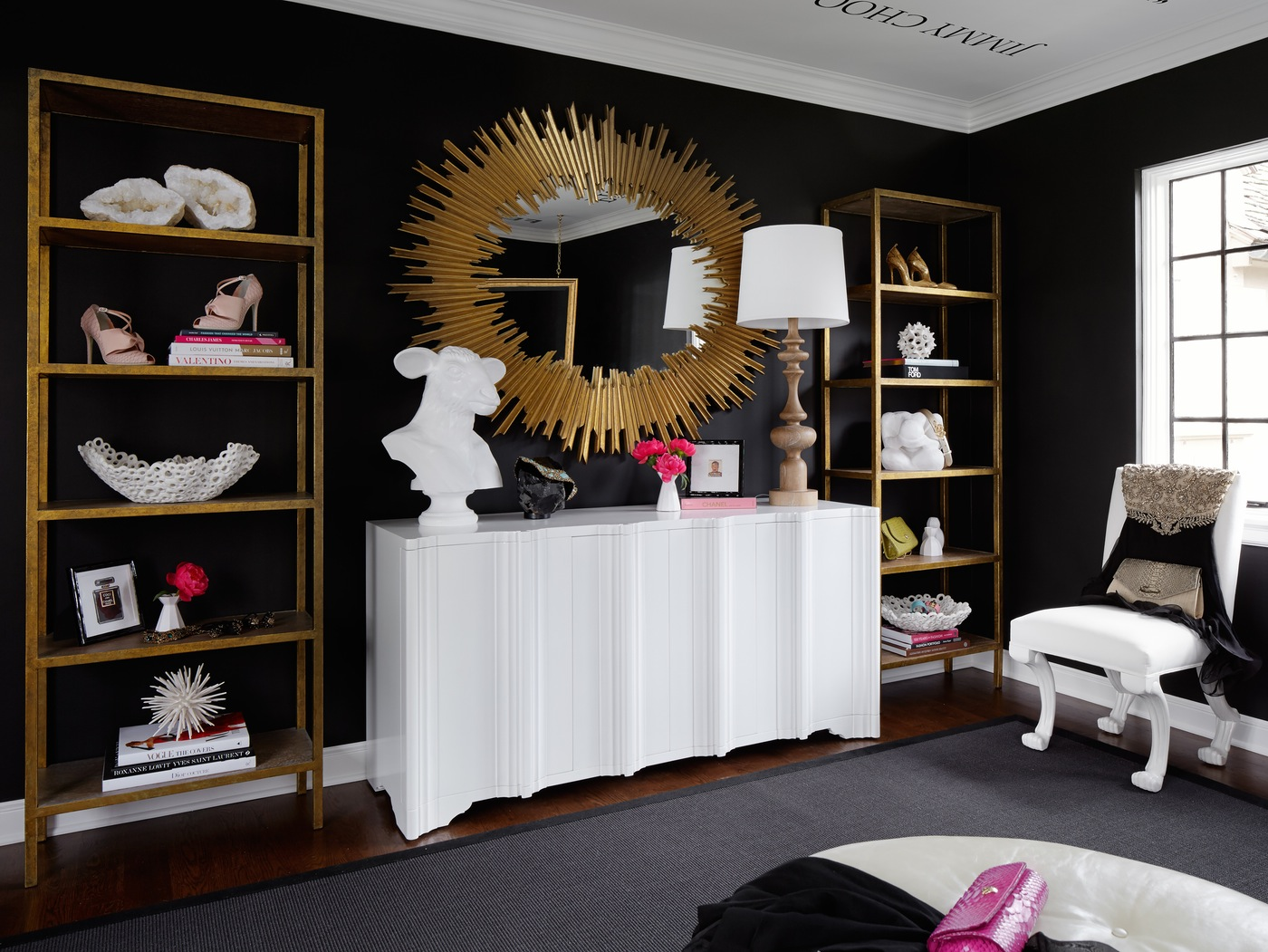 sunburst starburst mirror dream closet inspiration transitional black and white home office work space eclectic glam style interior bedroom