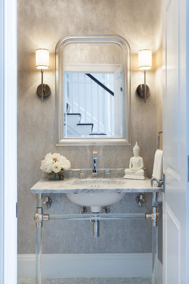 traditional white powder room bathroom design decor ideas all white glam style mirror arrangement ideas wall lamps lanterns marble vanity small bathroom