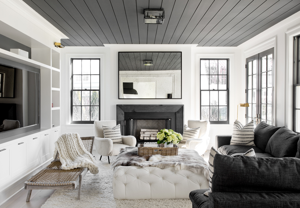 black and gray interior dining room center modern marble fireplace white leather ottoman swedish scandinavian interior design simple black ceiling splanks eclectic shop room ideas