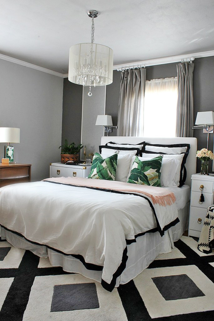 Eclectic boho bedroom black and white geometric carpet for Shopping for room decor
