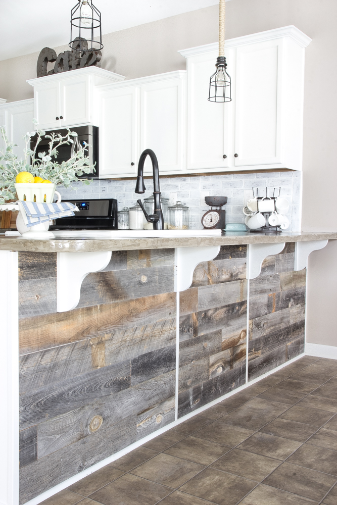 DIY-Reclaimed-Wood-Bar-kitchen island peninsula laminate vinyl decor inspiration diy cheap remodel farmhouse rustic on a budget shop room ideas