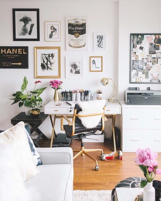 Beautiful Home Office Decorating Ideas Studs Gold Table Glam   Shoproomideas