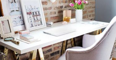 exposed rustic Brick-Wall-Office-Decor-Idea vynil laminate walls design inspiration on a budget cheap study room shop room ideas